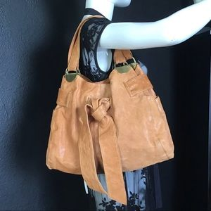 Kooba Tan Leather Bow Tie Drawstring Bag